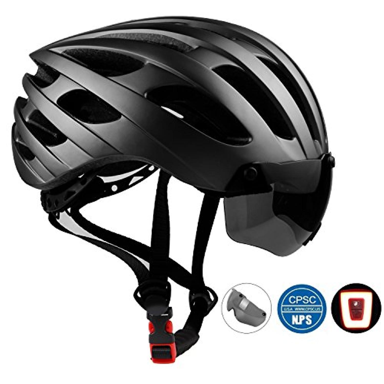Shinmaxバイクヘルメット、自転車ヘルメット CPSC認定LED安全ライト付きのヘルメット、調整可能 快適 男女兼用 サイクリング/山地/道路に最適のヘルメット