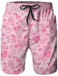 ピンクのハート メンズ サーフパンツ 水陸両用 水着 海パン ビーチパンツ 短パン ショーツ ショートパンツ 大きいサイズ ハワイ風 アロハ 大人気 おしゃれ 通気 速乾