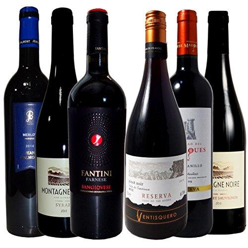 ワインが解る近道 人気黒ブドウ品種6種飲み比べセット 赤ワイン6本 ソムリエ厳選 750ml×6