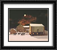 A Pale Moon 2xマット28x 24LargeブラックOrnateフレームアートプリントby Peter Sculthorpe