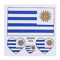 YouNワールドカップ防水使い捨て国旗タトゥーステッカー(ウルグアイ)