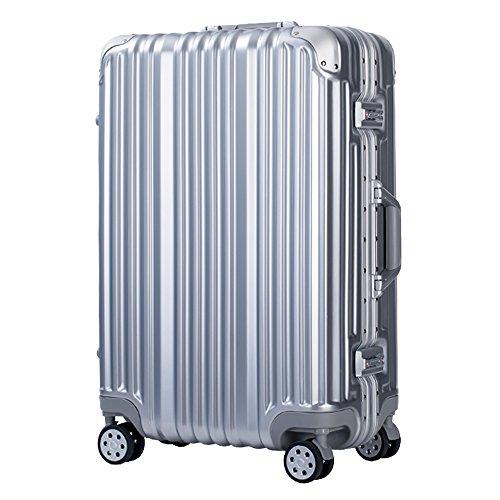 (トラベルハウス)TRAVELHOUSE 軽量アルミフレーム スーツケース キャリーケース キャリーバッグ TSAロック搭載 一年間修理保証 超軽量 フレーム L1602 (M, Bシルバー)