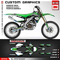 KUNGFU GRAPHICS(カンフー グラフィックス) DIRT BIKEダートバイク カスタムデカール フルキット ビニール(グリーン)適合KAWASAKIカワサキKXF 450 KX450F