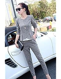 ツーピースパンツスーツパンツドレス上下セット2枚セットチェックスリム52042 (L, ダークグレー)