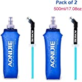 AONIJIE 2Pack of Soft Hydration Bottle Water Flask with Straw Lightweight Compact for use in Hydration Vests for Running, Hiking, Outdoor