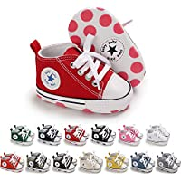 Meckior Baby Girls Boys Canvas Shoes Soft Sole Toddler First Walker Infant High-Top Sneakers Newborn Crib Shoes
