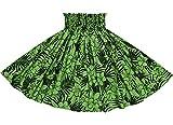 ★オーダーメイドでお作りします★フラダンス用スカート・衣装【丈とゴム本数が選べる】緑のパウスカート ハイビスカス・ヤシ・プルメリア柄 2552GN