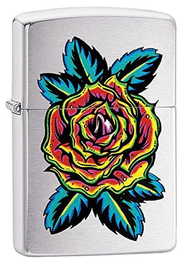 スナック器用見てZIPPO(ジッポー) Flower (フラワー) ライター 日本未発売 29399 Brushed Chrome [並行輸入品]