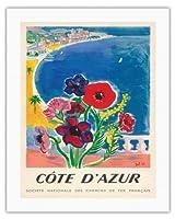 コードダジュール、フランス - フレンチ・リヴィエラ - フランス国鉄の国立協会 - ビンテージな世界旅行のポスター によって作成された タル c.1947 - キャンバスアート - 51cm x 66cm キャンバスアート(ロール)