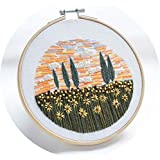 Monterey - Sunflower Field, Handmade Embroidery Starter Kit for Beginners (Includes Patterned Embroidery Cloth, Bamboo Hoop, Color Floss, Tools Kit)