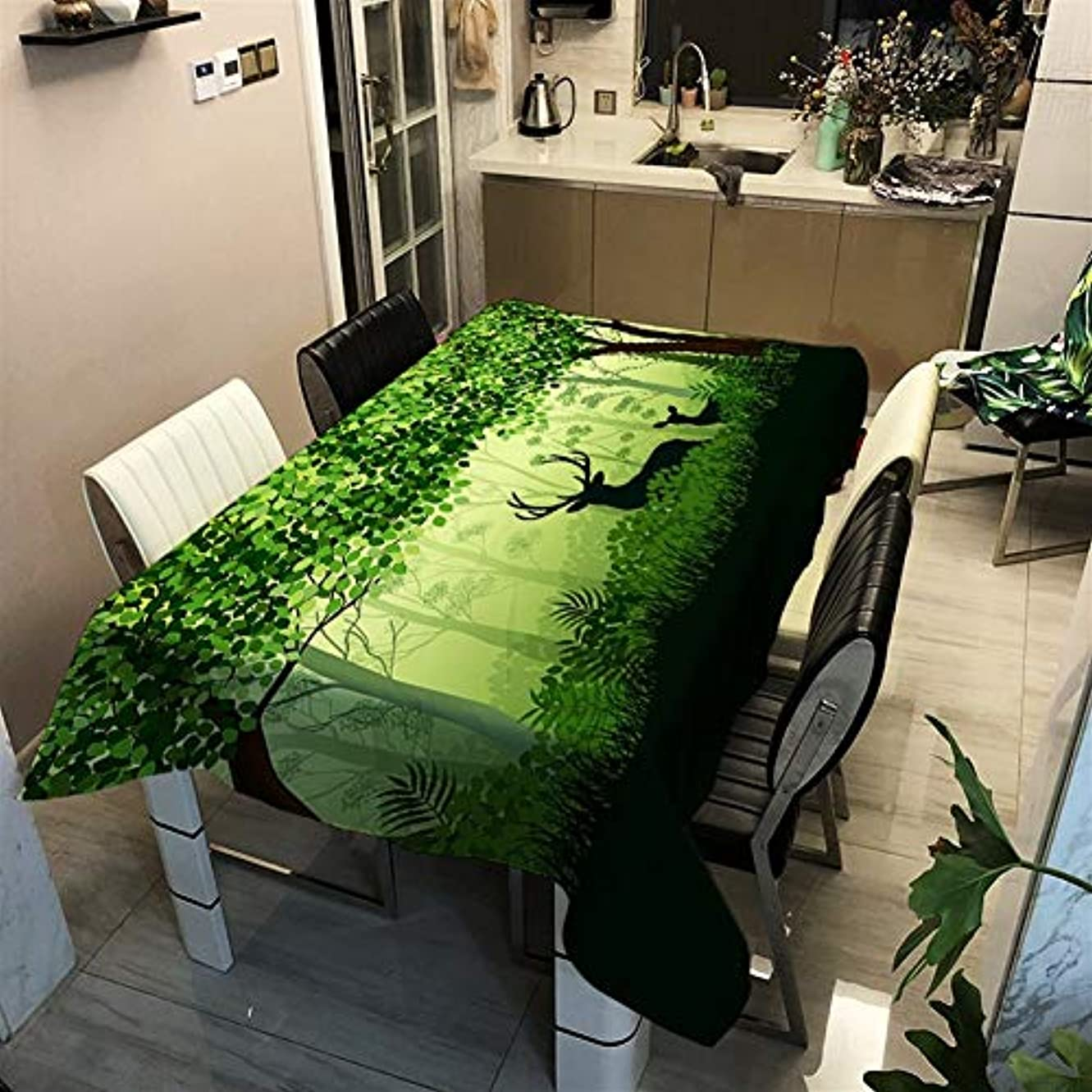 初期露リッチ撥水 テーブルクロス ポリエステル素材緑の森のパターン 洗える (Color : 3, Size : 140x140cm)
