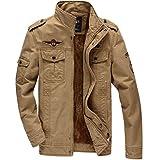 KEFITEVD メンズ 秋冬用 ブルゾン ライダースジャケット 大きいサイズ ミリタリー 防風 パーカー カーキ XL