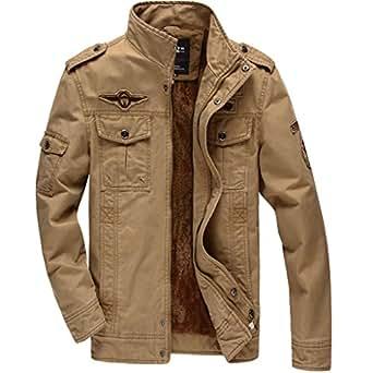 KEFITEVD メンズ 秋冬用 ブルゾン ライダースジャケット 大きいサイズ ミリタリー 防風 パーカー カーキ 2XL