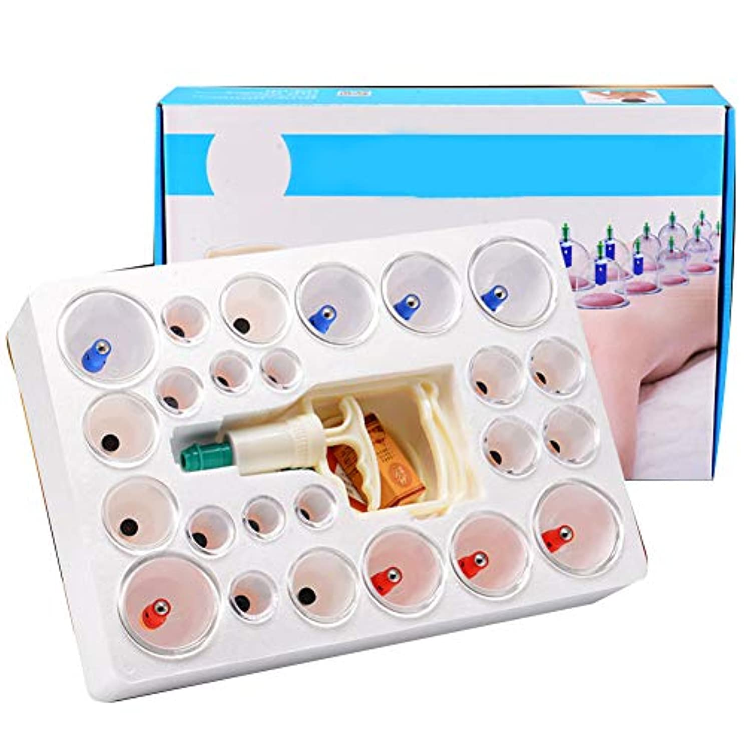 電圧衝突神話24カップマッサージカッピングセット、真空吸引中国式ツボ療法、在宅医療、全身チクチク硬さ疲労用、ポンプガン延長チューブ付き