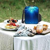 ブルー ランチバッグ昼食の包み断熱コールドピクディナーバッグショッピングバッグショルダーバッグ 大容量 男女兼用 通学旅行 オフィスピクニック