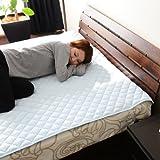 エムール ウォッシャブル ベッドパッド 敷きパッド セミダブル 抗菌 防臭 中わた 四隅ゴムバンド付 ブルー