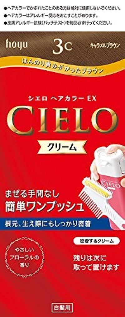 ずんぐりした開いた宴会ホーユー シエロ ヘアカラーEX クリーム 3C (キャラメルブラウン) 1剤40g+2剤40g [医薬部外品]