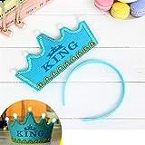 HuaQingPiJu-JP プリンスクラウンケーキLEDグローフープドレス帽子誕生日パーティー用品(ブルー、キング)