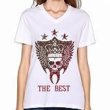 ECIALNI 女 VネックTシャツ JSB J Soul 青 王道 The Best Tee シンプルなデザイン レディース White