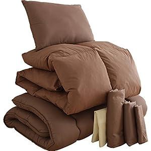 アイリスプラザ 布団 セット 7点 羽根布団 フェザー100% 3層 敷布団 枕 セット 洗える カバー付 収納ケース付 ピーチスキン 軽量 ボリュームタイプ シングル ブラウン