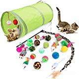 LUOIUI Cat Toys Kitten Toys Assortments 21 Pcs, Green 2 Way Tunnel, Colorful Balls/Drum/Mouse/Feathered Golf Balls and A Leop