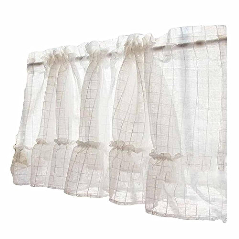 グリッド - 半透明の短いキッチンカーテン窓カーテンカフェティアカーテンガーゼ