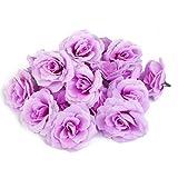 【ノーブランド品】ローズ バラ 造花 花部分のみ 花びら 花ヘッド 結婚式 装飾 DIY ローズ (紫)