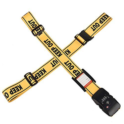 クロース(Kroeus)スーツケースベルト 十字 TSAロック付 2個セット ネームタグ トランクベルト 一字型ベルト 長さ調整可 旅行 出張 イエロー