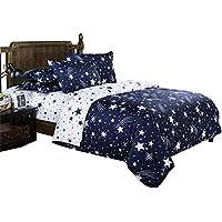 Beddingwish (被套 双人 4 件套) 枕套 被套 褥罩 床单 床上用品罩 鲸鱼 (床罩 210×210 厘米) XQDZXL-YX-01