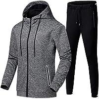 Mens Tracksuit Set, Hoodies Zip Trousers Gym Sports Suit Sets Joggers Pants (Color : Gray, Size : M)