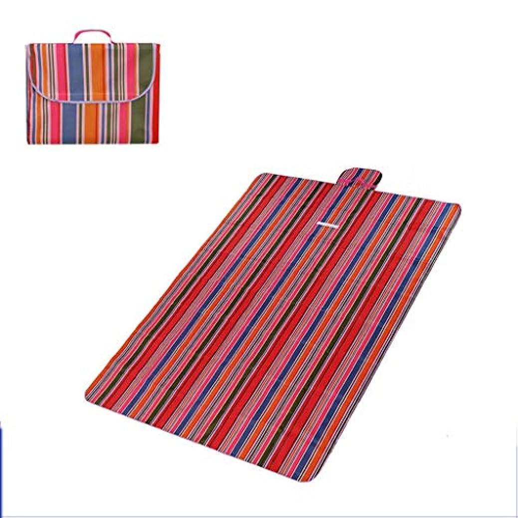 同一の結果うまくやる()Jucaiyuan ピクニックマット、マット屋外マット、防水パッド入りキャンプ毛布、ポータブルピクニックピクニックマットテントマット芝生マット (色 : Color strip red, Size : 200x145cm)