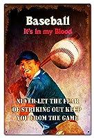 なまけ者雑貨屋 Baseball In My Blood アメリカ ン 雑貨 メタル ブリキ 看板 アンティーク レトロ 壁飾