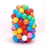 Dazers カラーボール おもちゃボール 7色100個 直径7cm やわらかポリエチレン製 収納ネットセット プール/ボールハウス用 知育玩具 (カラーボール 7cm, 7色100個)