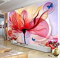 Wkxzz カスタム壁紙現代抽象フラワーアート壁画ステレオリビングルームテレビの背景家の装飾-350X250Cm