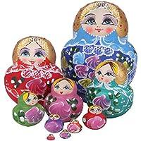 [Leegoal]Leegoal New 10pcs Beautiful Wooden Russian Nesting Wishing Dolls Matryoshk Traditional LYSB00HNL2VG0-TOYS [並行輸入品]