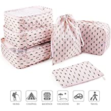 2018 New Pack of 6 Packing Cubes Travel Luggage Organizers Clothing Storage Sorting Package Shoe Bag Laundry Bra Storage Pouches and Electronics Accessories Pouch