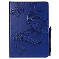 iPad Pro 10.5 Inch 2017 Flip Cover, Case, Scheam 便利 Card Slot [Stand Feature] Leather Wallet Case Vintage Book Style Magnetic Protective Cover Holder for iPad Pro 10.5 Inch 2017 - Blue