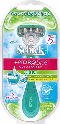 シック Schick ハイドロシルク ホルダー 敏感肌用 女性用 カミソリ (替刃2コ付 内1コは装着済)