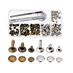 Rivets Single Cap Leather Rivet Tubular Metal Studs for Leather Craft,Set of 60