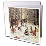 BLNの冬のシーンFineアートコレクション–冬高橋公園byジョージLuks、Children Playing in the Snow–グリーティングカード Set of 6 Greeting Cards
