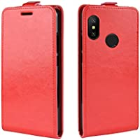 Xiaomi Mi A2 Lite レザーケース、MrStar 専用保護カバー きシェル シェル 手帳型ケースXiaomi Mi A2 Lite ケース(Red)