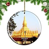 Weekinoラオスゴールデンパゴダビエンチャンクリスマスデコレーションオーナメントクリスマスツリーペンダントデコレーションシティトラベルお土産コレクション磁器2.85インチ