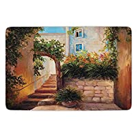 IACC ドアマット Bathroom Bath Rug Kitchen Floor Mat Carpet,Rustic,Stone Street Gate in an Old Town with Blooming Flowers Oil Painting,Dark Orange Dark Green,Flannel Microfiber Non-slip Soft Absorbent