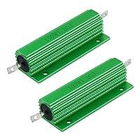 uxcell アルミ抵抗 ねじタップマウント グリーン 巻線型 100W 1.2 Ohm 2個入り