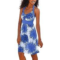 DIANEND Summer Dresses for Women V-Neck Floral Print Halter Sleeveless Sandy Beach Dress