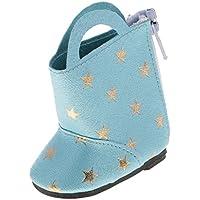 ノーブランド品 かわいい スタープリント ブーツ  靴 14インチ アメリカンガール/ウェリー/ウィッシャードール適用 4色選べる  - ライトブルー