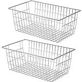 benzoyl ワイヤーバスケット スチールボックス かご 収納ケース キッチン収納ボックス 小物入れ 冷蔵庫適用 取っ手付き 銀色 2個セット