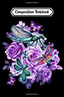 Composition Notebook: Dragonfly purple flowers  Journal/Notebook Blank Lined Ruled 6x9 100 Pages