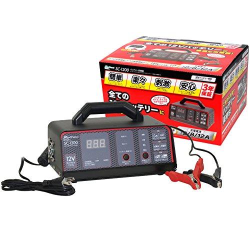 メルテック バッテリー充電器(バイク~大型トラック) DC12V用 定格12A バッテリー診断機能付...