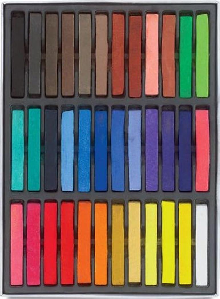 チャレンジ無会議HAIRCHALKIN®36色の一時的なヘアチョークセット - 非毒性の虹色の染料パステルキット
